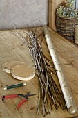 Homemade basket with wooden floor