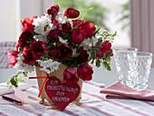 Valentine's bouquet made of tulipa (tulip), ranunculus