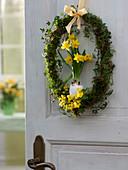 Easter door wreath in egg shape