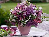 Syringa vulgaris, Aquilegia, Malus flowers