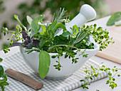 Mediterranean herbs in mortar