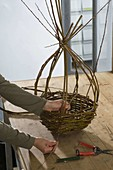 Egg-shaped wicker basket homemade