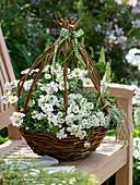 Egg-shaped wicker basket homemade