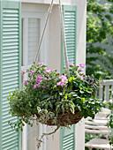 Herbal flower basket with edible flowers