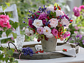 Fragrance bouquet of pink (scented roses), Lavandula (lavender), Hydrangea