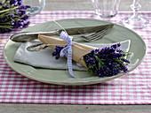 Small lavandula (lavender) bouquet in paper bag