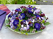 Wreath of phlox, callistephus, scabiosa