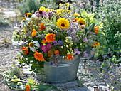 Medicinal plants and tea herbs arrangement in zinc tub