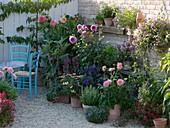 Terrasse mit Blumen, Kräutern, Obst und Gemüse