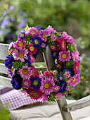 Late summer wreath from summer asters