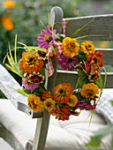 Late summer wreath of zinnias and grasses