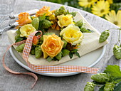 Yellow late summer roses and hops wreath