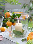 Lantern with fruits, flowers and leaves of calamondin orange