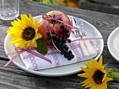 Autumn decoration on white plate