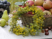 Fennel flowers wreath leaning on apple basket