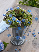 Hydrangea flowers wreath in green and blue, lying on vase