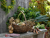 Freshly harvested vegetables in wicker basket