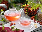 Rosehip tea in glass jug