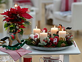 Advent wreath of Abies, decorated with heart with heart decoration