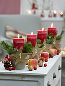 Fast Advent wreath with clay pots, red candles in clay pots