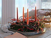 Simple decorated Abies nordmanniana Advent wreath