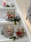 Christmas stair decoration with decorated lanterns