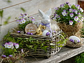 Wicker basket as easter nest
