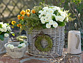 Spring basket with herbs and edible flowers