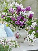 Bouquet of Tulipa 'Valentine' and Malus 'Evereste'