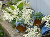 Flowers and jelly of Sambucus nigra (Elderberry)