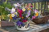 Colorful bouquet of flowers with edible flowers