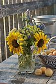 Bouquet of helianthus (sunflower), dill (anethum), agastache