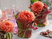Dahlias wrapped in glasses with berry leaves