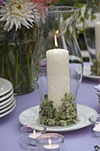 Evening terrace: table decoration with lanterns