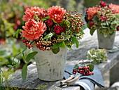 Late summer bouquet with fruit stalks of Viburnum lantana