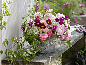 Late summer bouquet with pink (rose), cosmos (small jewelry basket)
