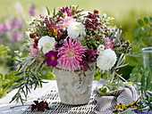 Late summer bouquet with Dahlia, Atriplex, Erigeron