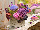 Autumn bouquet with vegetables, Artichoke (Cynara), Aconitum