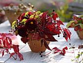 Autumn bouquet made of dahlia, fennel (foeniculum), rose