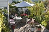 Pflanzkübel mit integriertem Sonnenschirmhalter : 2/2