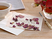 Invitation Card with dried rose petals