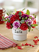 Small bouquet of dianthus (carnation) and eucalyptus