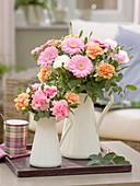 Timeless bouquets made of gerbera, dianthus (clove) and eucalyptus