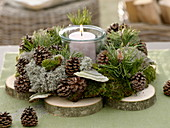 Advent wreath of natural materials from the forest walk