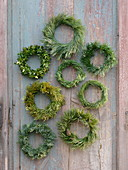 Simple conifer wreaths