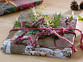 Natural gift decoration star made of Erica gracilis