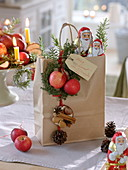 Gift bag with chocolate Santa Claus