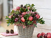 Christmas apple bouquet in the basket