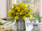 Yellow bouquet from Acacia, Tulipa, Narcissus 'Tete a Tete'