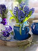 Bunch of hyacinth (hyacinth) in blue ceramic